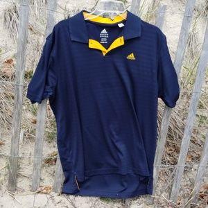 Adidas Men's Blue Yellow Short Sleeve Polo Shirt